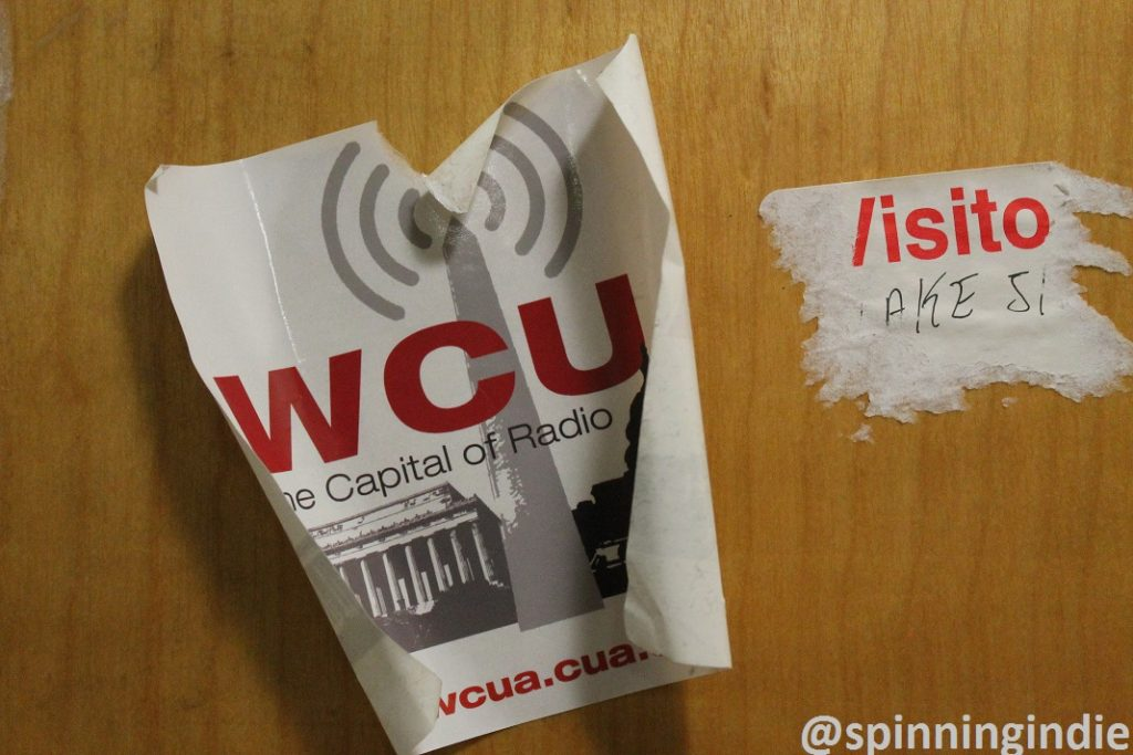 WCUA sticker on the inside of the station's door. Photo: J. Waits