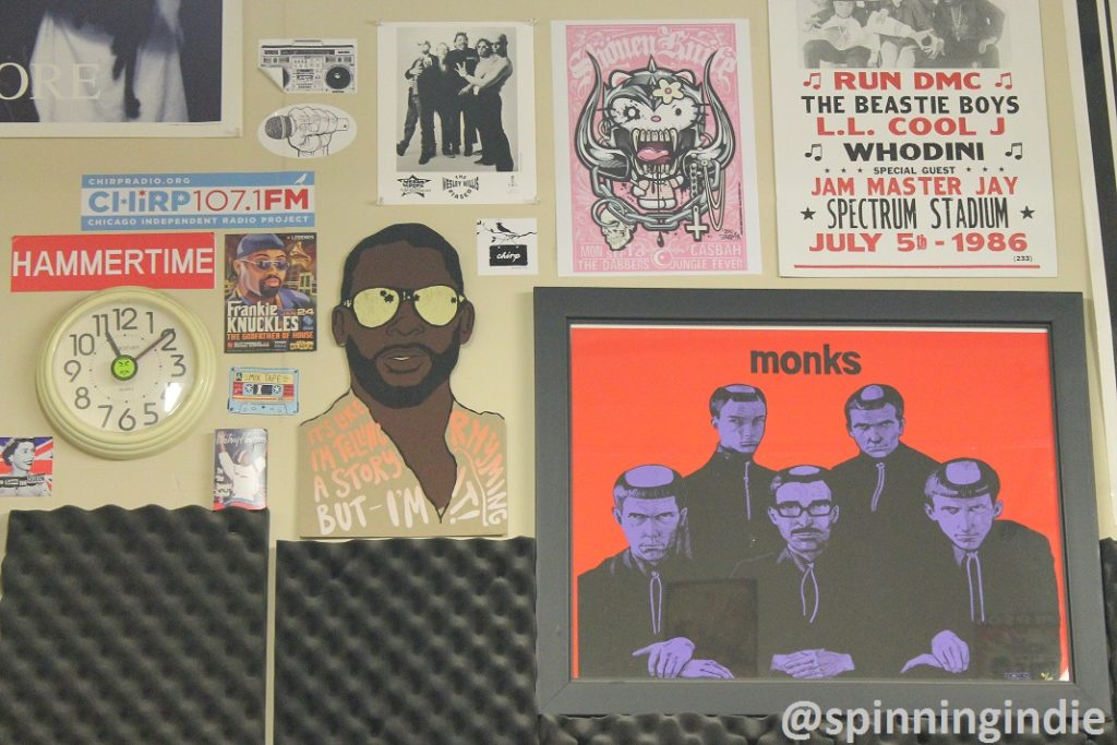 Posters on wall of CHIRP Radio studio. Photo: J. Waits