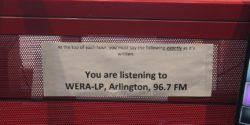LPFM radio station WERA-LP's legal ID posted in radio station studio. Photo: J. Waits
