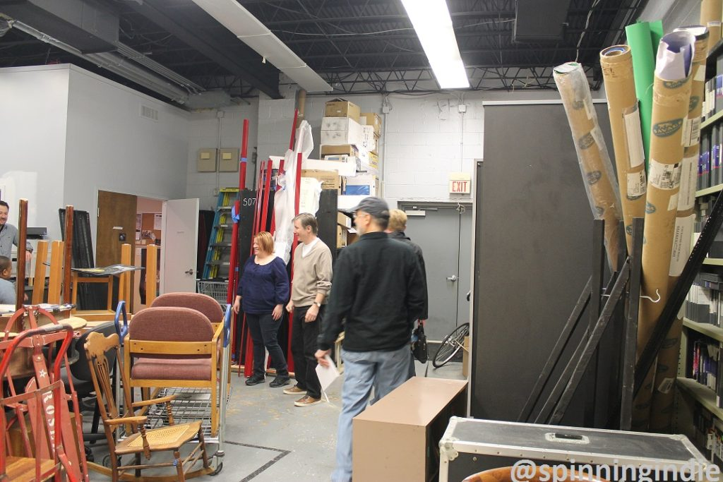 Lauree McArdle, Paul McValley and Andy Rosenberg in warehouse at Arlington Independent Media. Photo: J. Waits