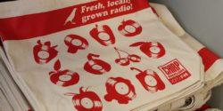 CHIRP tote bag at soon-to-be LPFM community radio station CHIRP radio. Photo: J. Waits