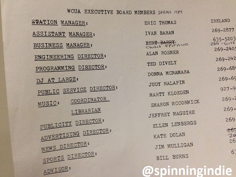 WCUA staff list from 1984. Photo: J. Waits