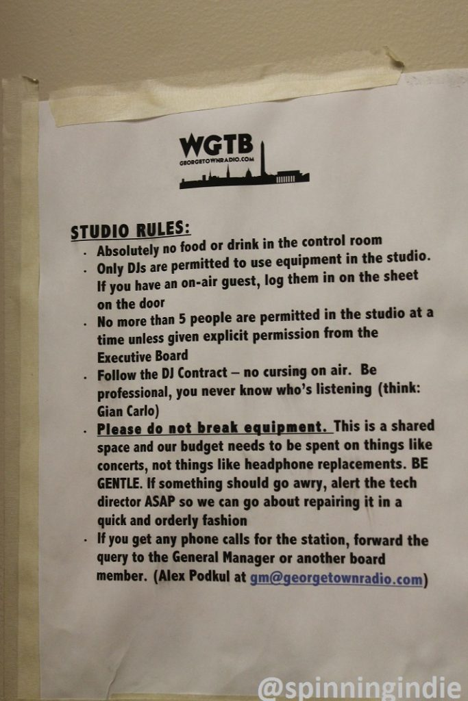 Rules posted outside WGTB studio. Photo: J. Waits
