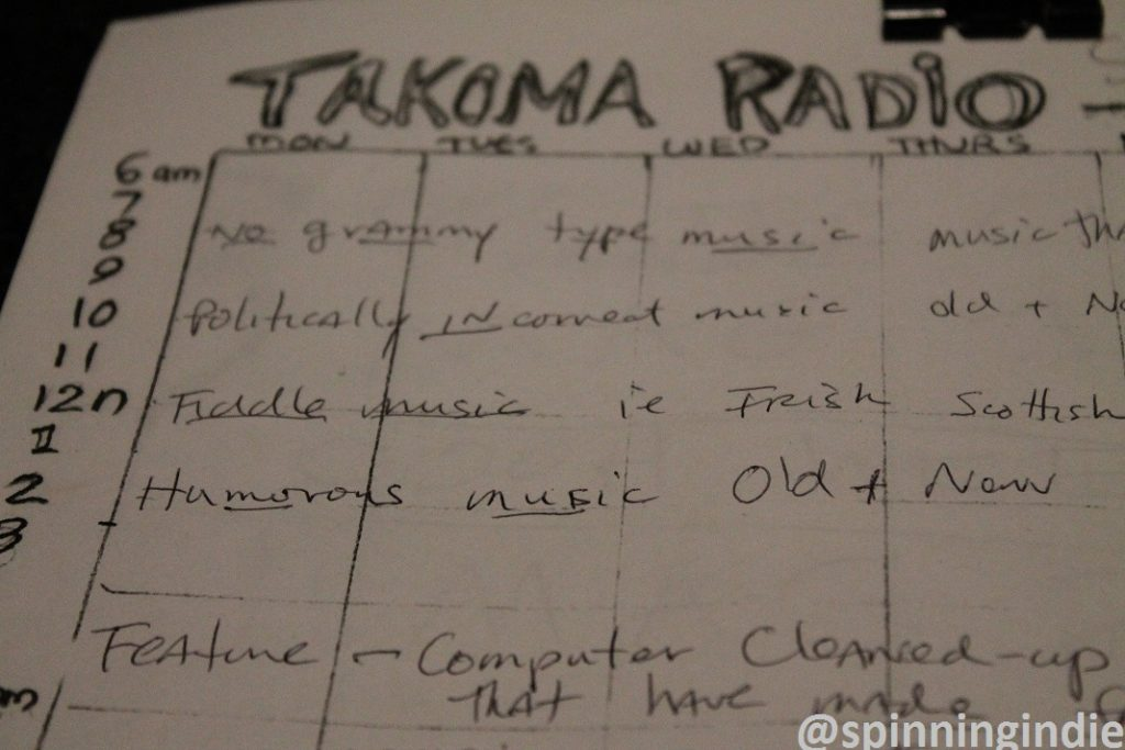 Programming proposal for Takoma Radio. Photo: J. Waits