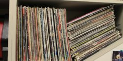 Vinyl records at college radio station WGBT. Photo: J. Waits