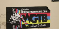 WGTB sticker on Georgetown college radio station wall. Photo: J. Waits