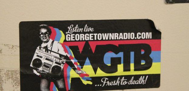 WGTB sticker on Georgetown college radio station wall. Photo: J. Waits
