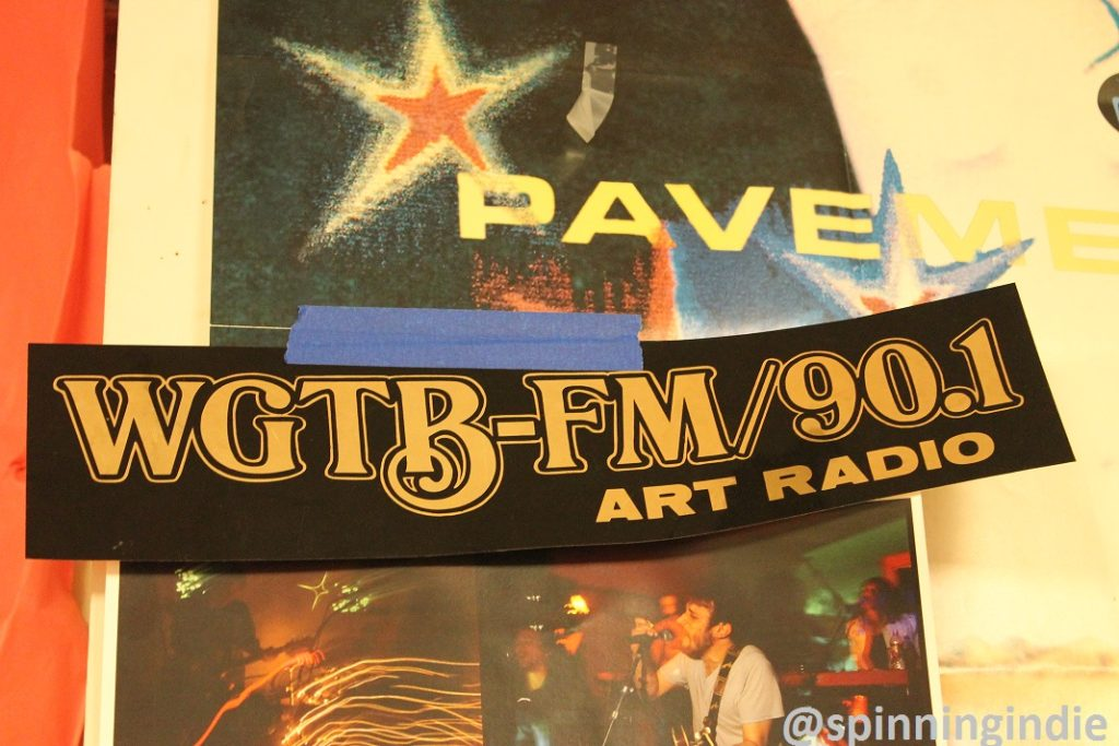 WGTB-FM Art Radio sticker on wall of the station. Photo: J. Waits
