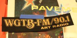 WGTB-FM Art Radio sticker on wall of the station. Photo: J. Waits