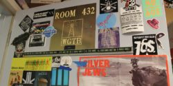 Entrance to college radio station WGTB offices, with posters covering the door. Photo: J. Waits