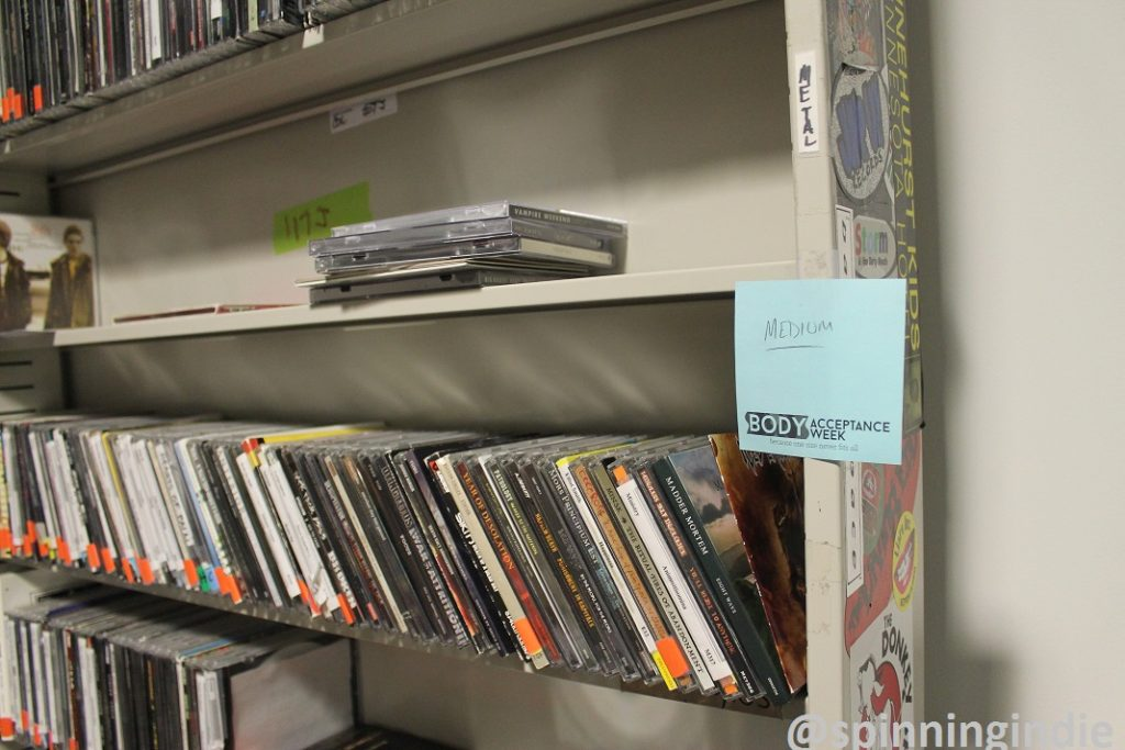 Medium rotation CDs in KCSU's on-air studio. Photo: J. Waits