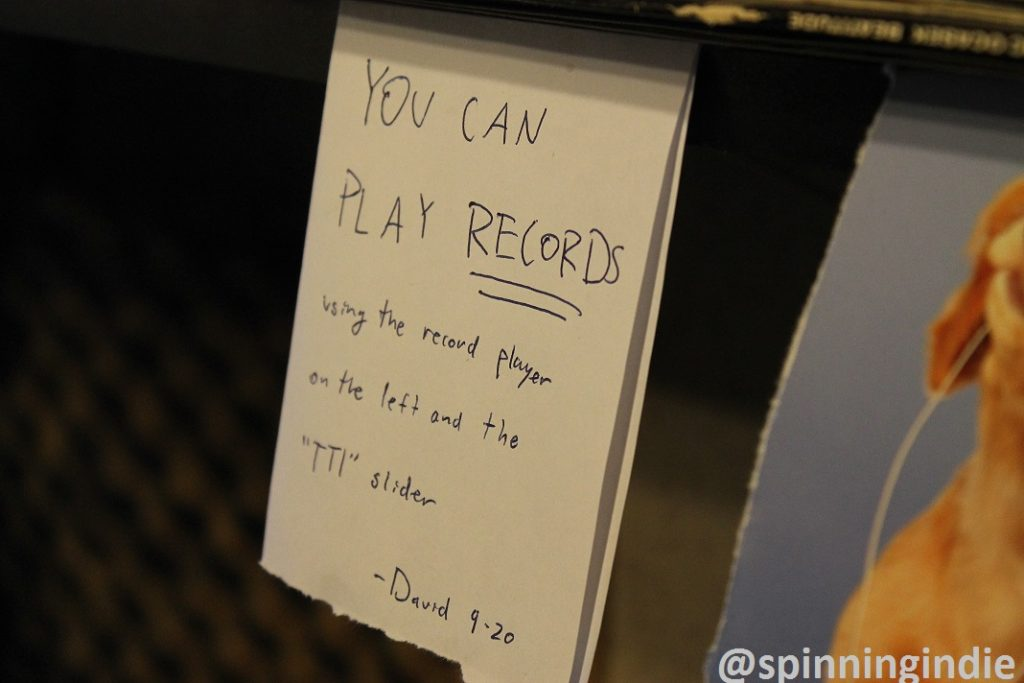 """You can play records"" sign at college radio station The SOCC. Photo: J. Waits"