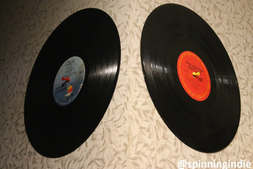Vinyl records on the wall of college radio station The SOCC. Photo: J. Waits