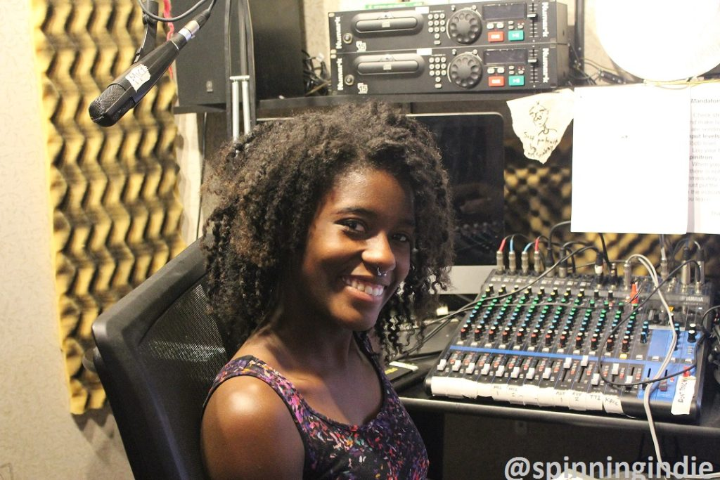 The SOCC's General Manager Eboni Statham in the college radio station's studio. Photo: J. Waits