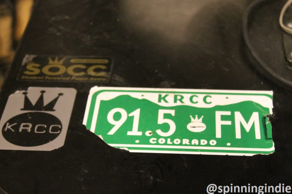 KRCC stickers at college radio station The SOCC. Photo: J. Waits