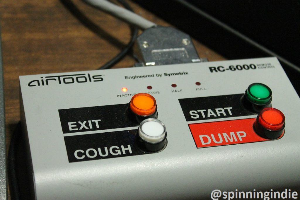 Dump button in KCSU studio. Photo: J. Waits