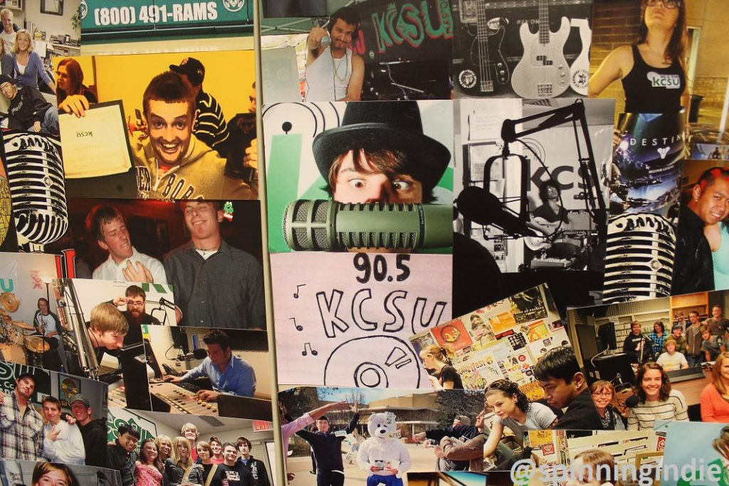 Collage on wall in KCSU production studio. Photo: J. Waits