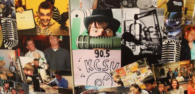 Collage on wall in college radio station KCSU production studio. Photo: J. Waits