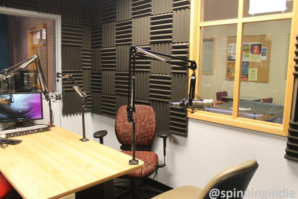 Met Radio studio with view of on-air booth (to left) and window to hallway (to right). Photo: J. Waits