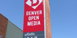 Sign for LPFM KOMF-LP at Denver Open Media. Photo: J. Waits