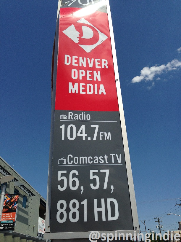 Sign for Denver Open Media and its LPFM station KOMF-LP. Photo: J. Waits