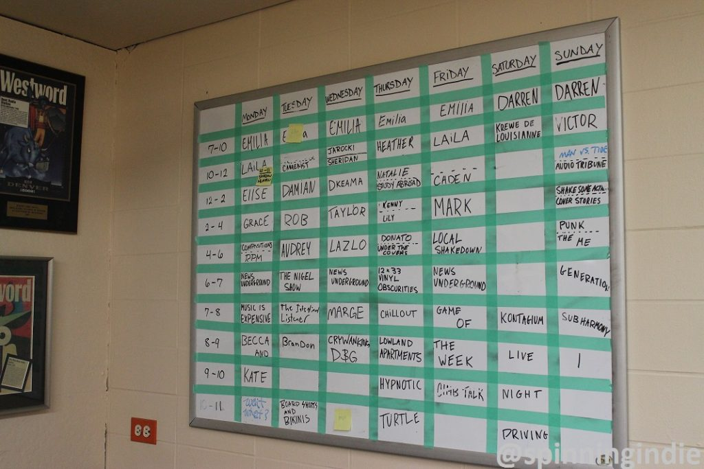 Whiteboard with Radio 1190 schedule. Photo: J. Waits