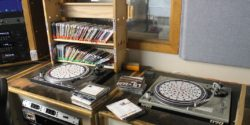 Turntables in on-air studio of college radio station Radio 1190. Photo: J. Waits