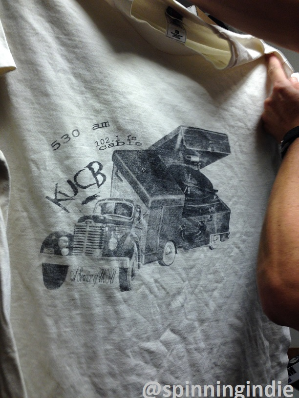 Vintage KUCB T-shirt at college radio station Radio 1190. Photo: J. Waits