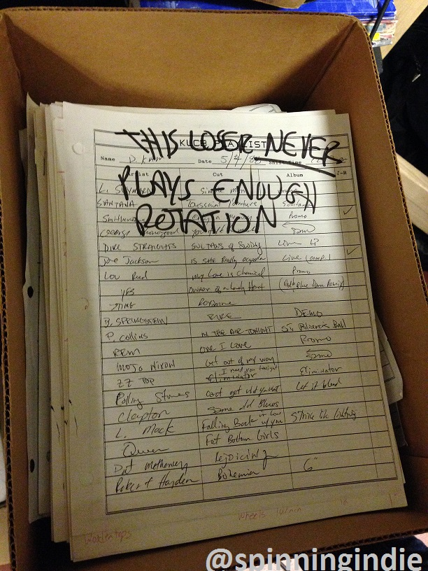 Box of old KUCB playlists at Radio 1190, including this one from 1988. Photo: J. Waits