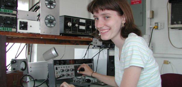 An amateur radio operator, Yvette Cendes, KB3HTS, at station W8EDU, 2005