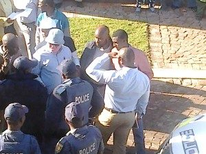 """Ambassadors"" outside Madibeng FM on July 21"