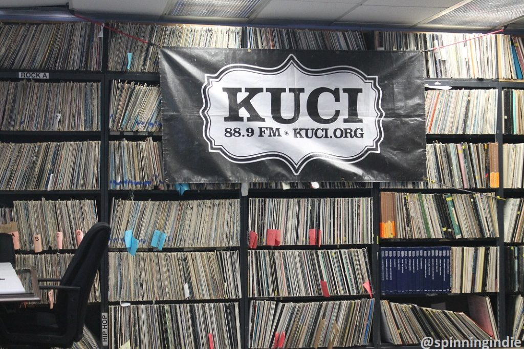 Vinyl LPs in lobby of college radio station KUCI. Photo: J. Waits
