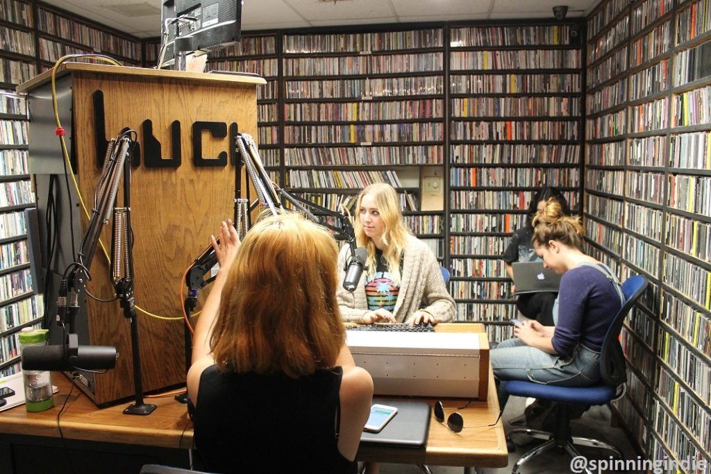 DJs in the on-air booth at KUCI. Photo: J. Waits