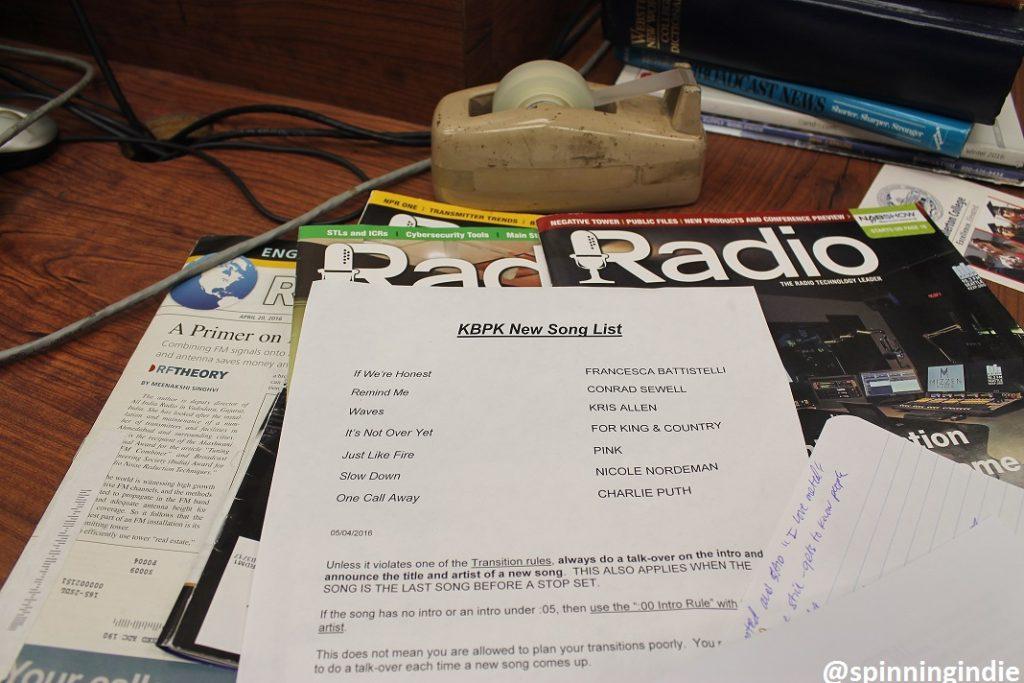 Music add list at KBPK. Photo: J. Waits