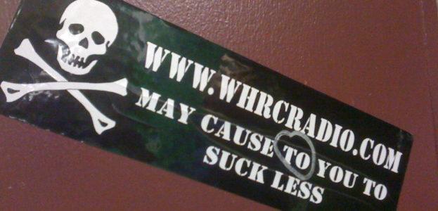 Sticker at college radio station WHRC. Photo: J. Waits