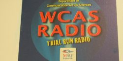 WCAS Radio flyer at the MSU Denver college radio station. Photo: J. Waits