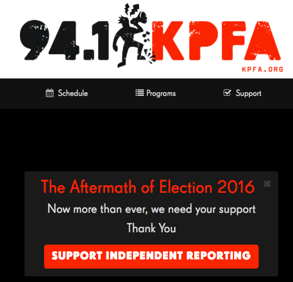 KPFA Trump coverage poster