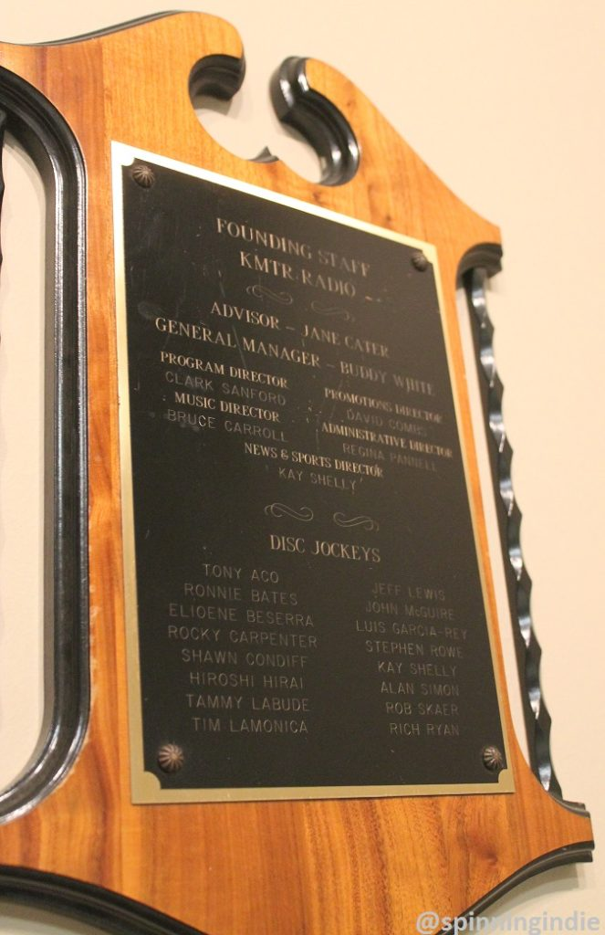 KMTR commemorative plaque at KUOZ-LP. Photo: J. Waits