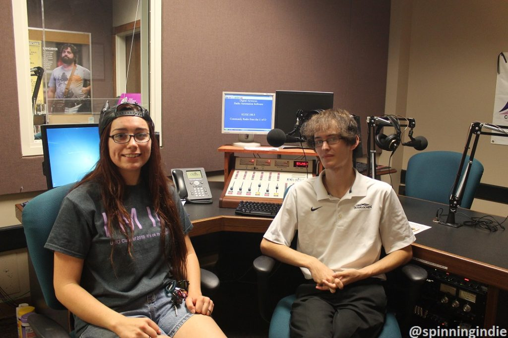 Anna Fisk and Corbin Sturch in KUOZ-LP studio. Photo: J. Waits