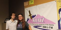 Corbin Sturch and Anna Fisk in college radio station KUOZ-LP studio. Photo: J. Waits