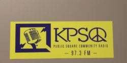 KPSQ sticker at the LPFM station. Photo: J. Waits