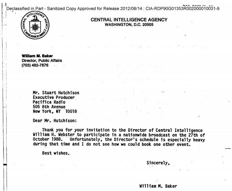 William Webster response