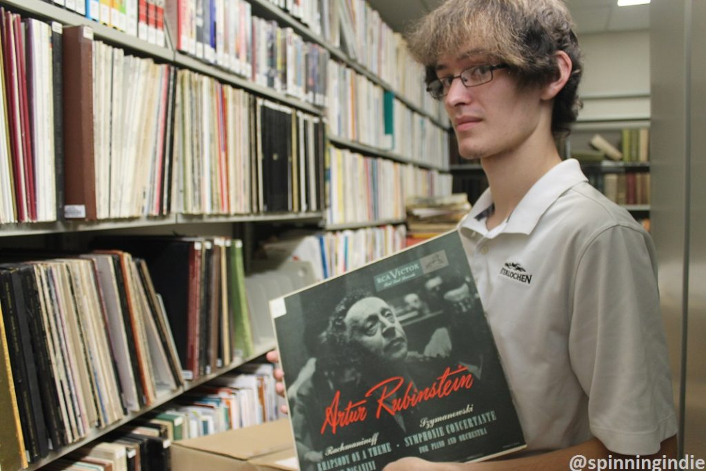 Corbin Sturch peruses the university's library's LP collection. Photo: J. Waits