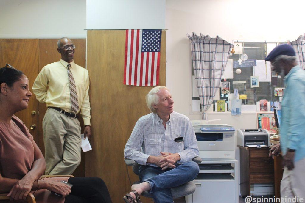 Kenya Lewis, KABF volunteer, Wade Rathke, and Join Cain at KABF. Photo: J. Waits