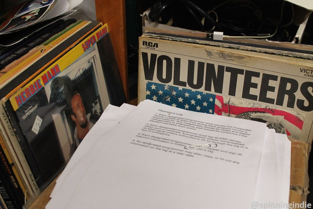 Vinyl LPs and paperwork at community radio station KABF. Photo: J. Waits