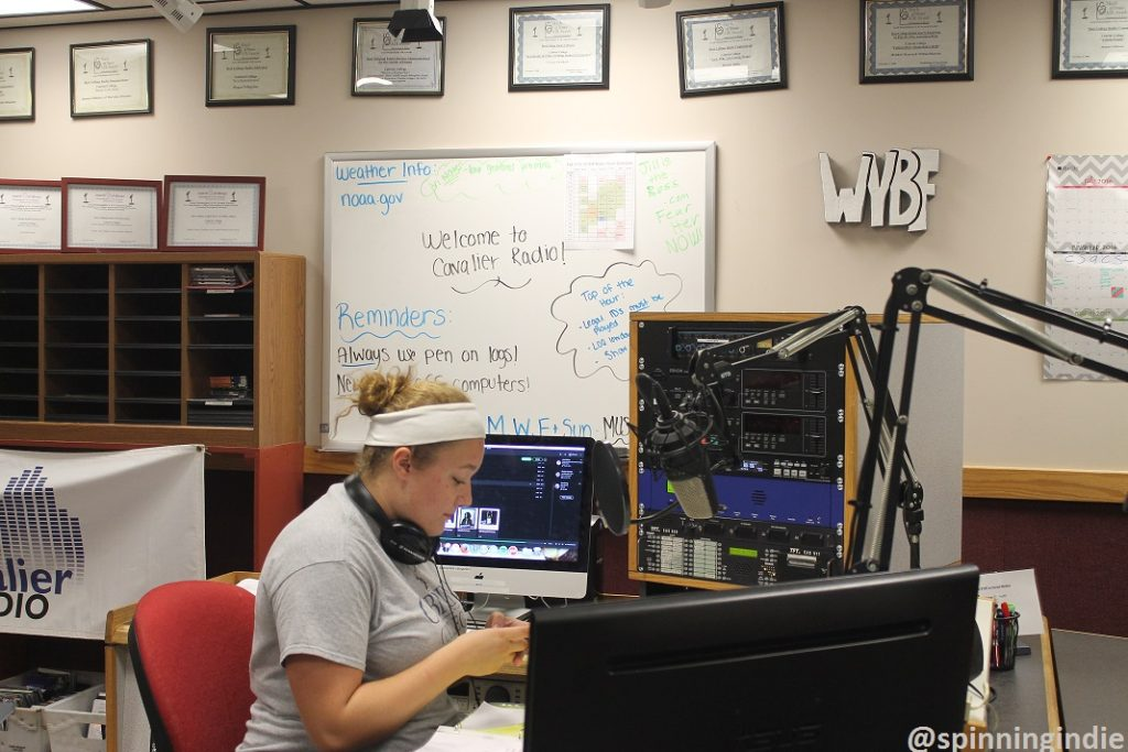 DJ Jordan in studio at Cabrini University's college radio station WYBF. Photo: J. Waits