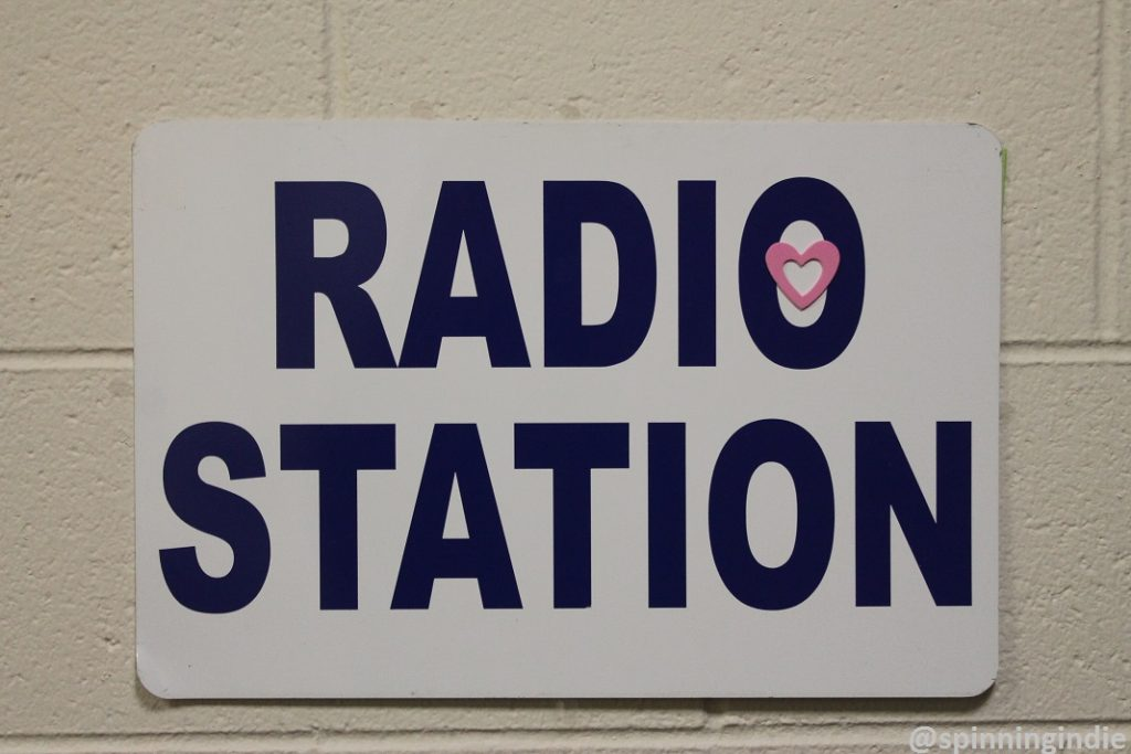 Radio station sign at college radio station WMWC. Photo: J. Waits