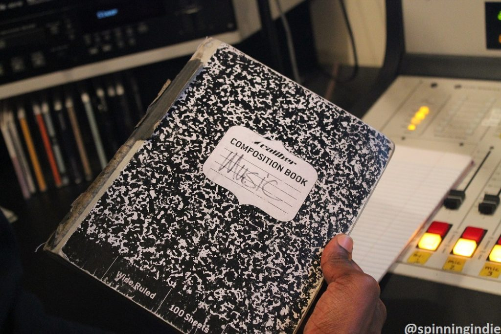 DJ Brandon Herbin's music notebook. Photo: J. Waits