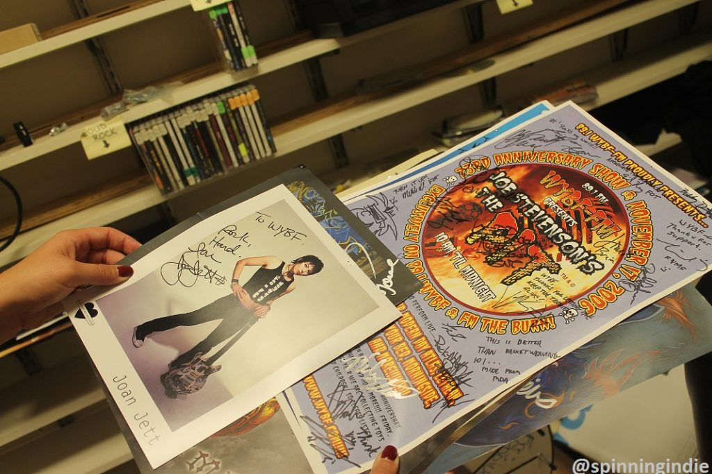 Signed promotional items, including Joan Jett photo, at WYBF. Photo: J. Waits