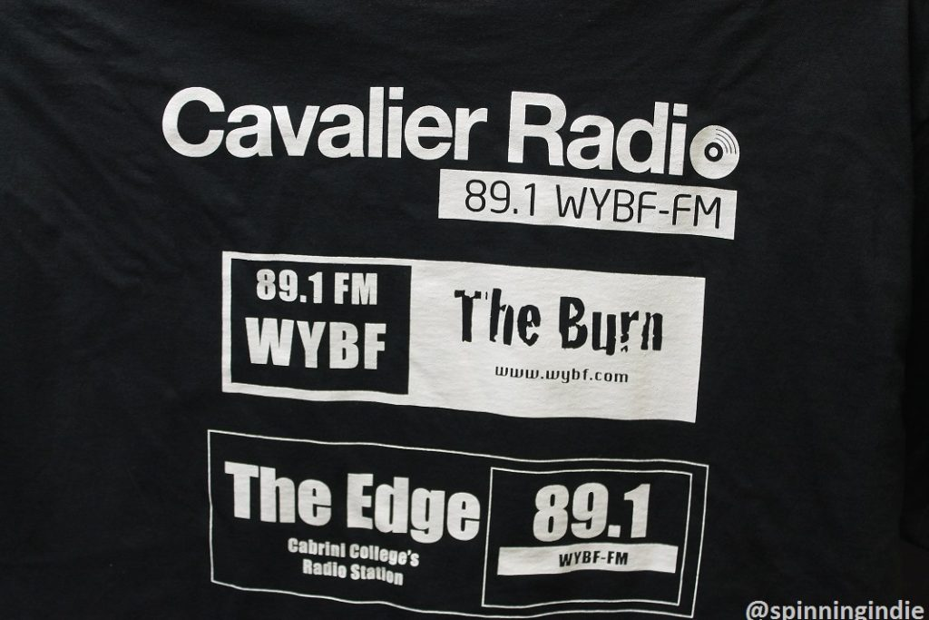 Series of WYBF logos on the back of a T-shirt. Photo: J. Waits